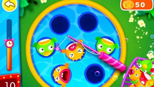 宝宝巴士第522期 宝宝游乐园 奇奇钓鱼 儿童益智娱乐小游戏