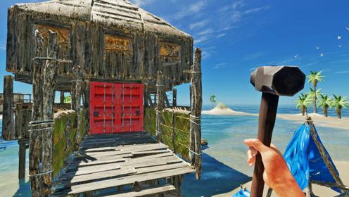 荒岛求生64:我扩建木船横跨海域,为别墅拉回一扇大红门