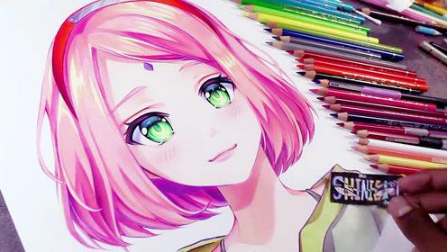 用彩铅怎样把动漫人物头发画的漂亮有光泽!来看看高手画的春野樱