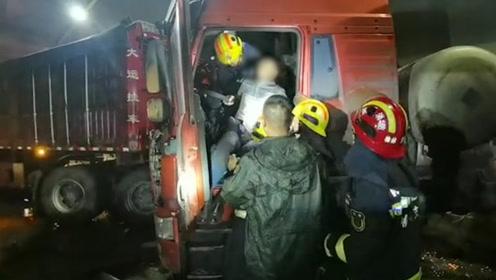 惨烈!陕西榆林一隧道四车连环相撞  一半挂车动力罐天然气发生泄漏