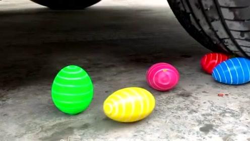 减压视频:汽车vs五彩鸭蛋磁力球可乐等,放在车轮下请勿模仿