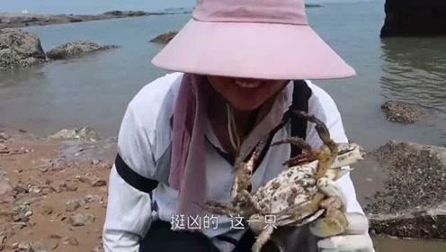 渔妹翻山赶海再遇好货,天然水坑的螃蟹异常肥美,好吃到嘬手指