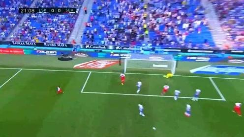 西甲经典回顾 武磊首发险造点 西班牙人0比2塞维利亚
