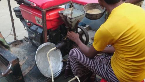 印度街头传统零食,自制机器让人不敢恭维,不愧是开挂民族美食!