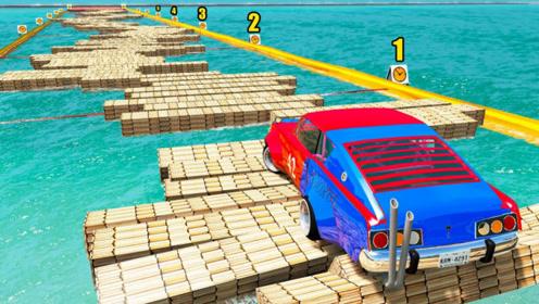 汽车能通过水上浮木桥吗?3D动画模拟,结果出乎意料!