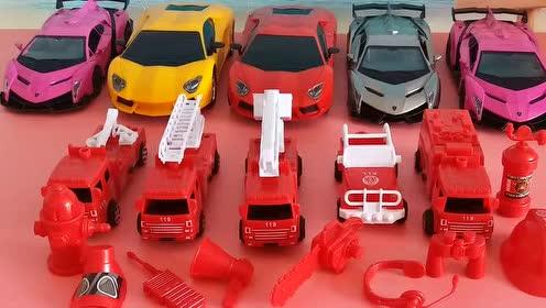 消防车系列玩具套装拆封 卡车赛车总动员