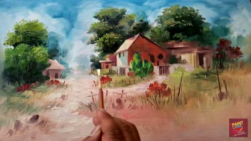 国外高手画一幅风景油画全过程,太喜欢了!