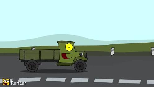坦克世界搞笑动画:赛车比赛