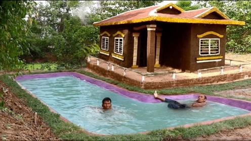 户外建造豪华别墅,泳池