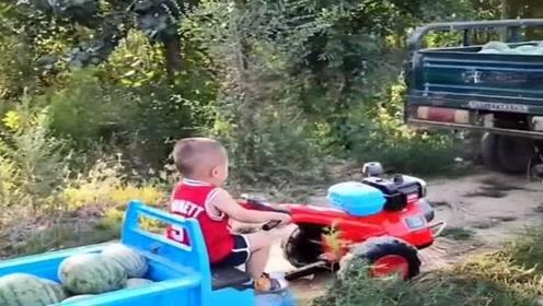 自从萌娃有了玩具车后,他就成了爷爷的小帮手,真是太懂事了!