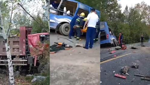 2死16伤!吉林一公交车与重型货车相撞,现场一片狼藉惨不忍睹