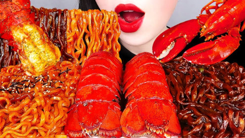 美食二倍速:小姐姐吃辣味火鸡面,甜味炸酱面,香辣大龙虾,太香了