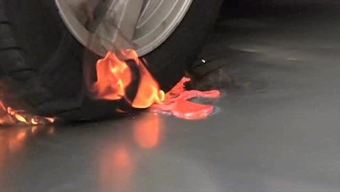 实验,当汽车压过1000度的岩浆,轮胎会爆么?