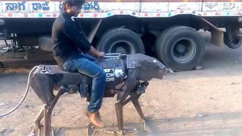 印度小伙造奇葩机械豹子,天天骑着去买菜,走在路上回头率超高!
