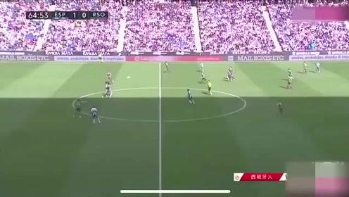 武磊世界跑位加梅西式停球,打进西甲第3球,全场球迷疯狂欢呼!