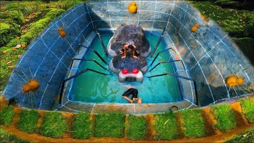 """兄弟俩大显身手,野外打造""""蜘蛛泳池"""",成品霸气侧漏!"""