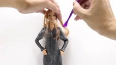 漂亮的芭比娃娃DIY,给芭比娃娃做一身漂亮的皮衣,很帅啊!