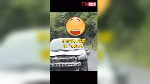 """泰国一公园内小汽车遇大象秒变""""玩具车""""被拆卸"""