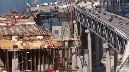 延时拍摄,一座跨河大桥升级建造过程,全程高能真过瘾