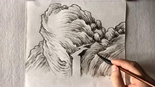 国画山水披麻皴与瀑布口画法步骤示范