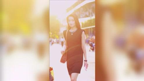 逆光中走来的黑裙子美女,真的很女神!