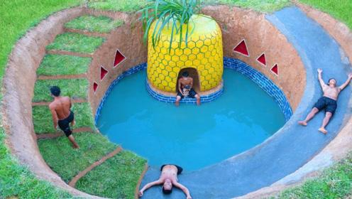 荒野建造大神来了!四兄弟合伙打造菠萝屋,还带滑道泳池!