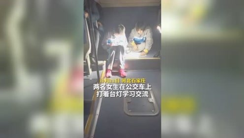 加油少年!石家庄两名女生在公交车上打着台灯学习交流