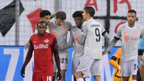 莱万梅开二度,萨内、博阿滕、卢卡斯进球,欧冠拜仁6-2大胜红牛