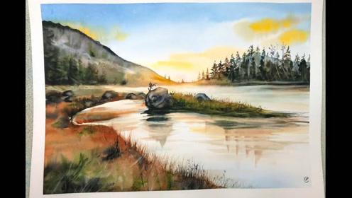 水彩风景画,竟然画出了水墨画的感觉,好美的落日余晖