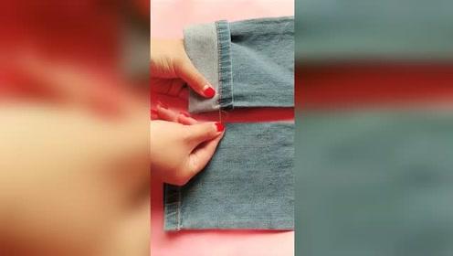 生活小窍门:裤子买长了不用去裁,不用剪刀就
