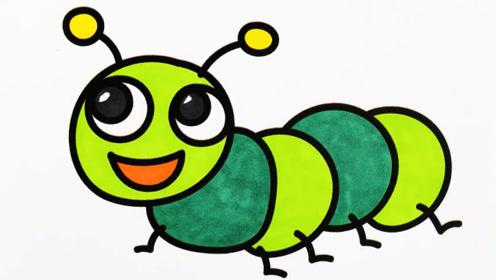 可爱的绿色大眼睛小虫子简笔画涂色教程
