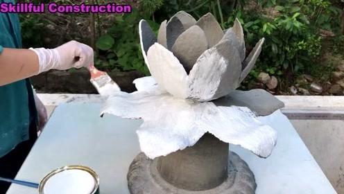 家中水泥工艺的构思:如何用水泥和织物做成一朵五彩缤纷的花朵