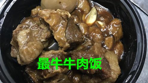 天津超好吃的牛肉饭,28元一份量够大,看大辉这吃相,大口吃肉爽