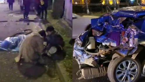 佳木斯发生4车连撞事故,现场多车受损1人倒地不起