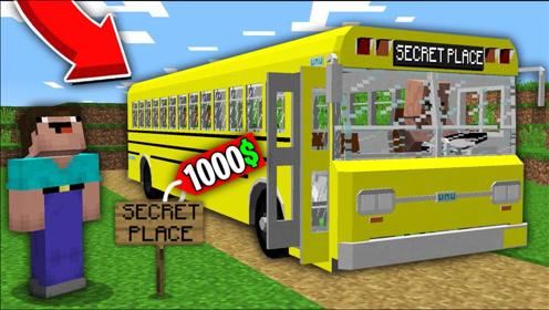 我的世界:村庄新加了旅游巴士,阿呆费劲千辛万苦才坐上!