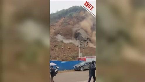 云南鲁甸突发山体滑坡致一辆挖掘机被埋 目击者:驾驶员在车里