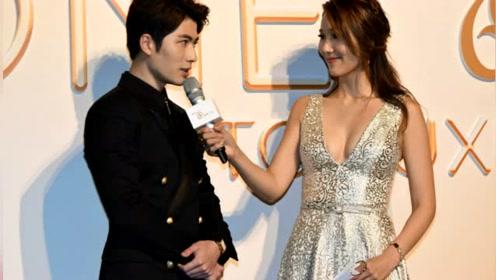 王祖蓝娇妻低胸裙秀性感 一不小心露了尴尬