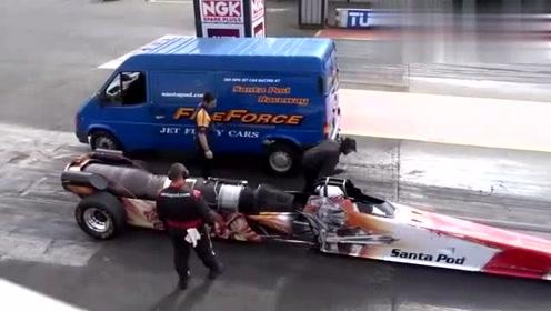 秒速破百!4秒跑完400米,喷气式引擎式赛车直线竞速