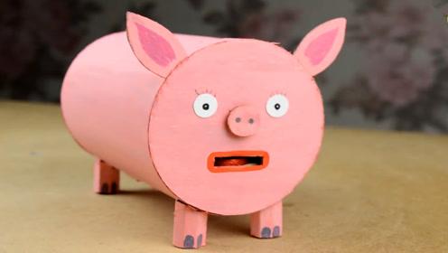 创意硬纸板diy手工制作粉色小猪糖果机,新年送给朋友最好的礼物