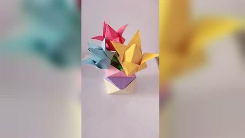 怎么用纸折郁金香?手工折纸郁金香的制作方法!