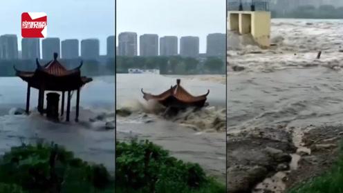 """""""利奇馬""""吹來大洪水,山東一涼亭墜河散架:涼亭也堅持不住了!"""