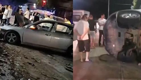 揭阳小车失控连撞多车,警方:致1死2伤数车受损,现场画面曝光