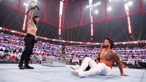 WWE地狱牢笼大赛,罗门伦斯痛揍表弟,逼着杰乌索喊出我退出比赛