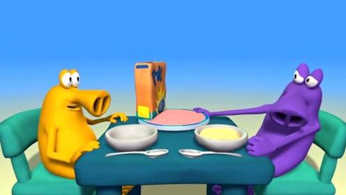 搞笑长鼻怪: 旋转餐盘小动画