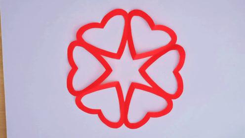 心型新年窗花,侗家妹手工剪纸,儿童剪纸好看易学