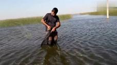 为了钓鱼也是不容易啊,人直接下河里了