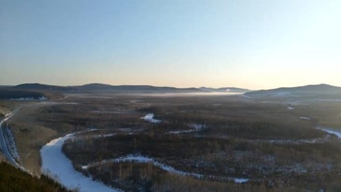 冰雾中的黑龙江美景,盘龙九曲十八弯