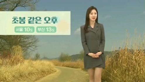韩国天气预报突然响起音乐,女主播愣了一下开始跳舞,太可爱了