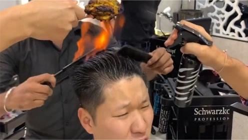 鼓起勇气体验印度火焰理发,一边理发一边烤鸡腿,成品更是让人眼前一亮!