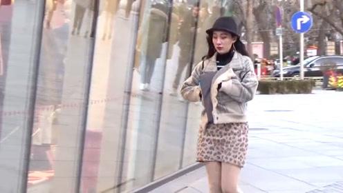 街拍: 粗花呢小外套搭配豹纹包臀裙, 凸显美女风姿绰约好气质